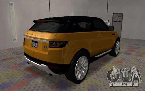 Land Rover Range Rover Evoque para GTA San Andreas traseira esquerda vista
