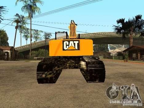 Escavadeira CAT para GTA San Andreas traseira esquerda vista