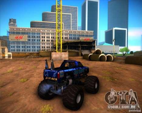 Monster Truck Blue Thunder para GTA San Andreas vista direita