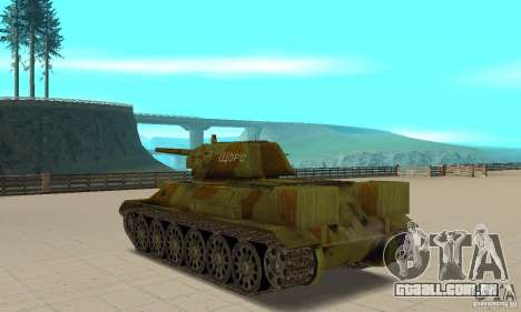 Tanque T-34/76 para GTA San Andreas traseira esquerda vista