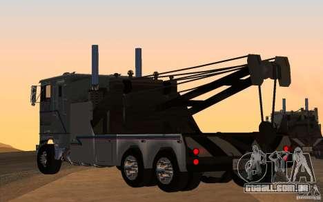 Kenworth K100 Towtruck para GTA San Andreas esquerda vista
