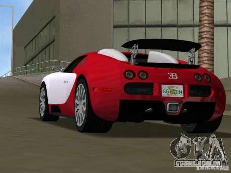 Bugatti Veyron EB 16.4 para GTA Vice City vista traseira esquerda