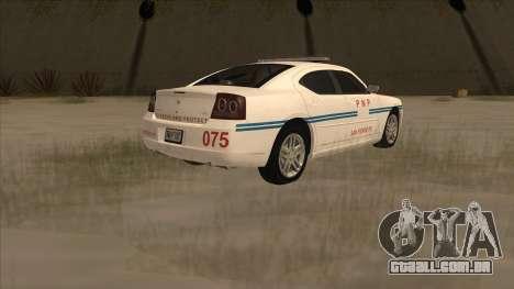 Dodge Charger PNP SAN FIERRO para GTA San Andreas traseira esquerda vista