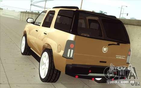 Cadillac Escalade 2004 para GTA San Andreas traseira esquerda vista