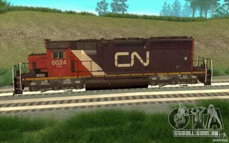 Canadian National SD40U para GTA San Andreas esquerda vista
