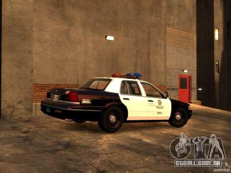 Ford Crown Victoria LAPD v1.1 [ELS] para GTA 4 traseira esquerda vista