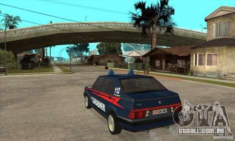 Alfa Romeo 75 Carabinieri para GTA San Andreas traseira esquerda vista