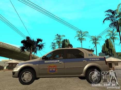 Dacia Logan Police para GTA San Andreas esquerda vista