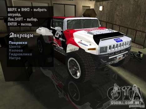 Hummer HX Concept from DiRT 2 para GTA San Andreas vista superior
