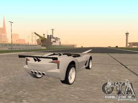 Chevrolet Corvette C7 Spyder para GTA San Andreas traseira esquerda vista