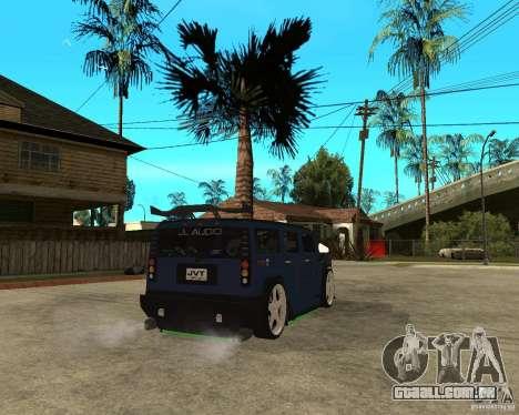 AMG H2 HUMMER Jvt HARD exclusive TUNING para GTA San Andreas traseira esquerda vista