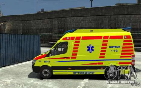 Mercedes-Benz Sprinter 2011 Ambulance para GTA 4 esquerda vista