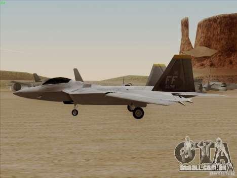 FA22 Raptor para GTA San Andreas vista direita
