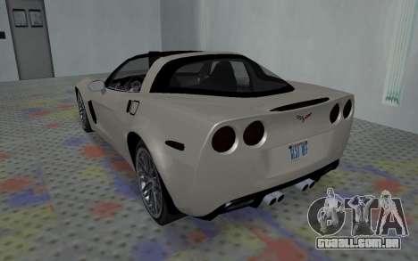 Chevrolet Covette Z06 para GTA San Andreas vista direita