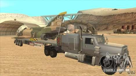 Flatbed trailer with dismantled F-4E Phantom para GTA San Andreas vista traseira