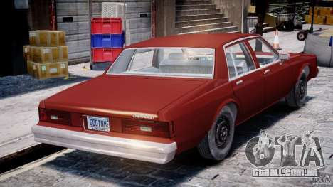 Chevrolet Impala 1983 para GTA 4 vista superior