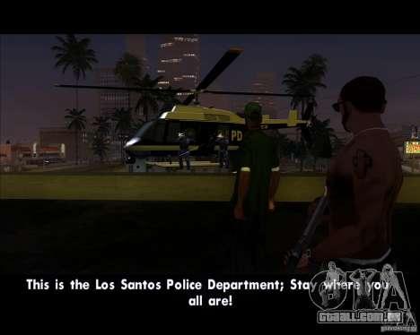 GTA IV Police Helicopter para GTA San Andreas traseira esquerda vista