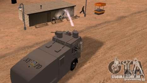 Um canhão de água polícia Rosenbauer v2 para GTA San Andreas vista traseira