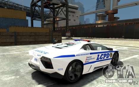 Lamborghini Reventon LCPD para GTA 4 vista direita