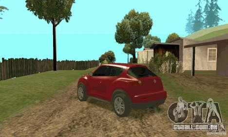 Nissan Juke para GTA San Andreas traseira esquerda vista