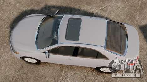 Toyota Camry Altise 2009 para GTA 4 vista direita