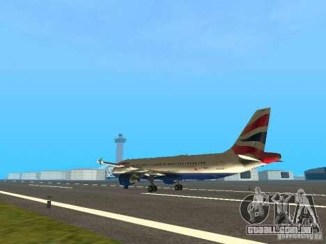 Airbus A320 British Airways para GTA San Andreas traseira esquerda vista