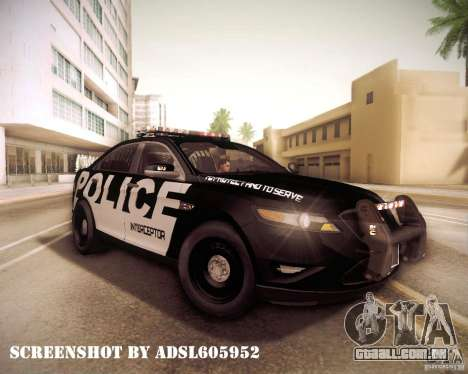Ford Taurus Police Interceptor 2011 para GTA San Andreas vista interior