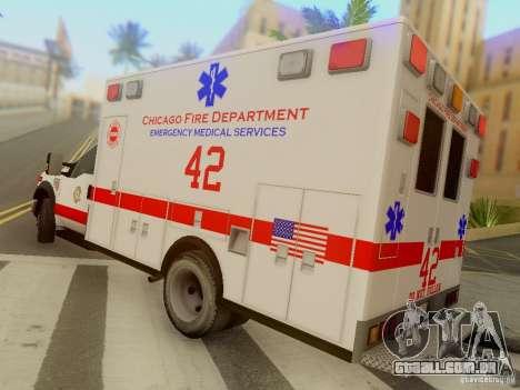 Ford F350 Super Duty Chicago Fire Department EMS para GTA San Andreas traseira esquerda vista