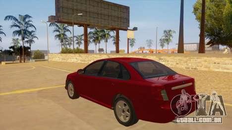 Buick Excelle para GTA San Andreas traseira esquerda vista