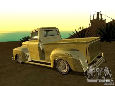 Ford Pick Up Custom 1951 LowRider para GTA San Andreas esquerda vista
