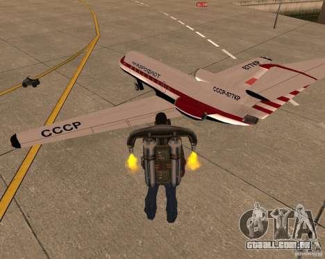 O avião Yak-40 para GTA San Andreas esquerda vista
