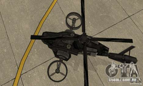 Um helicóptero do jogo TimeShift Black para GTA San Andreas vista traseira