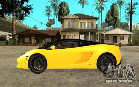 Lamborghini Gallardo LP560 Bicolore para GTA San Andreas esquerda vista