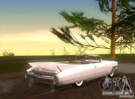 Cadillac Series 62 1960 para GTA San Andreas traseira esquerda vista