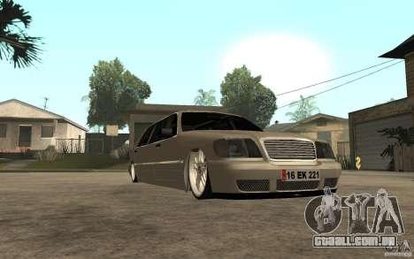 Mercedes-Benz S600 V12 W140 1998 VIP para GTA San Andreas vista traseira