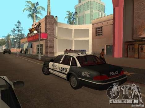 Ford Crown Victoria LSPD para GTA San Andreas traseira esquerda vista