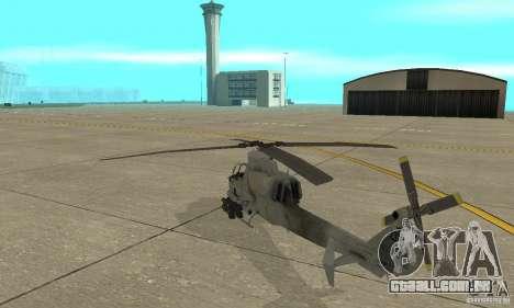 Hunter - AH-1Z Cobra para GTA San Andreas traseira esquerda vista