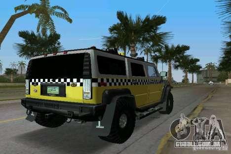 Hummer H2 SUV Taxi para GTA Vice City vista traseira esquerda