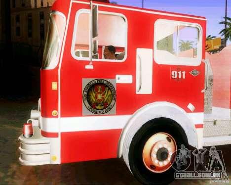 Pumper Firetruck Los Angeles Fire Dept para GTA San Andreas vista traseira