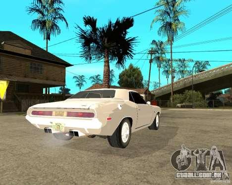 Dodge Challenger R/T Hemi 70 para GTA San Andreas traseira esquerda vista