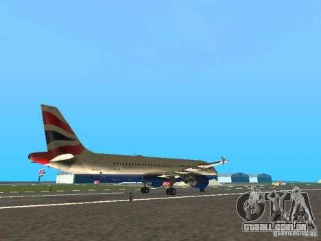 Airbus A320 British Airways para GTA San Andreas vista direita