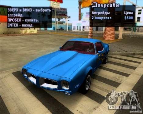 Pontiac Firebird 1970 para GTA San Andreas vista interior
