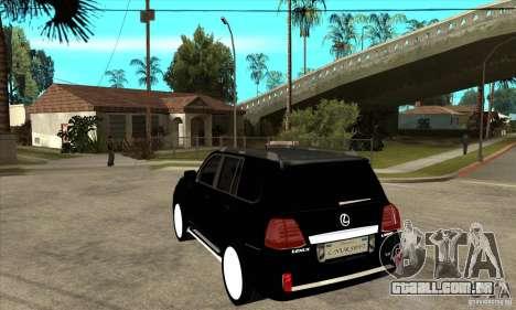 Lexus LX 570 2010 para GTA San Andreas traseira esquerda vista