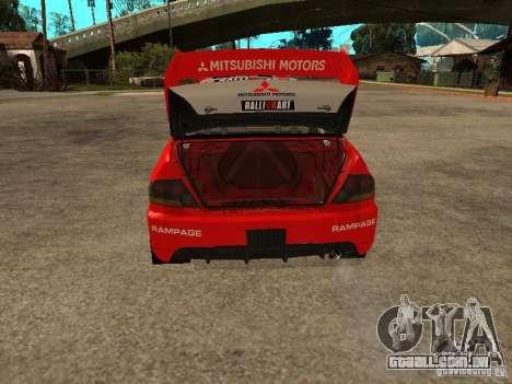 Mitsubishi Lancer Evo IX DiRT2 para GTA San Andreas vista inferior