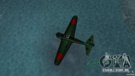 Zero Fighter Plane para GTA Vice City vista traseira esquerda