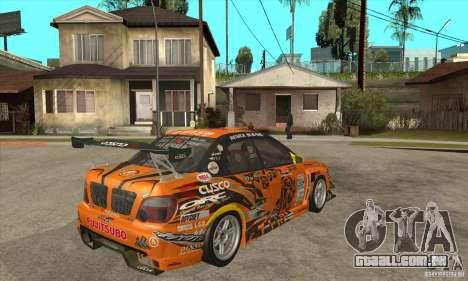 Subaru Impreza D1 WRX Yukes Team Orange para GTA San Andreas vista direita