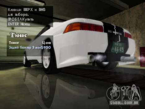 Toyota MR2 GT para GTA San Andreas vista inferior