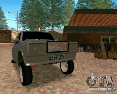 VAZ 2107 completo para GTA San Andreas vista traseira