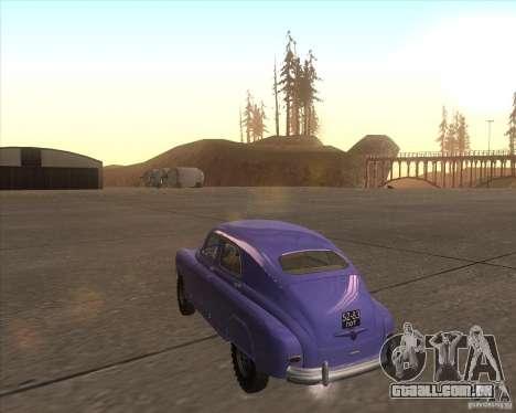 GAZ M72 para GTA San Andreas traseira esquerda vista