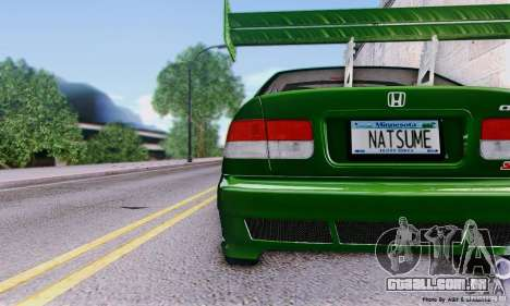 Honda Civic Si Sporty para GTA San Andreas vista direita